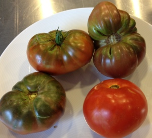 My heirloom tomatoes are anything but uniform but oh so delicious!